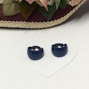 Vintage Blue Hoop Clip on Earrings